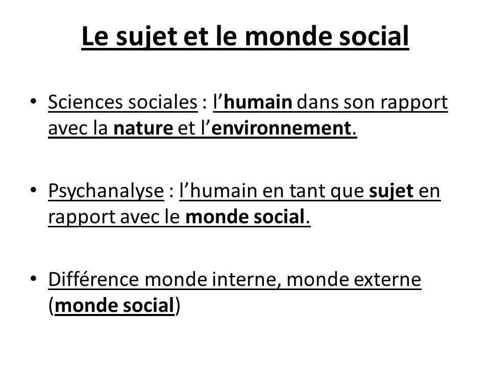 Le sujet et le monde social Sciences sociales : lhumain dans son rapport avec la nature et lenvironnement. Psychanalyse : lhumain en tant que sujet en