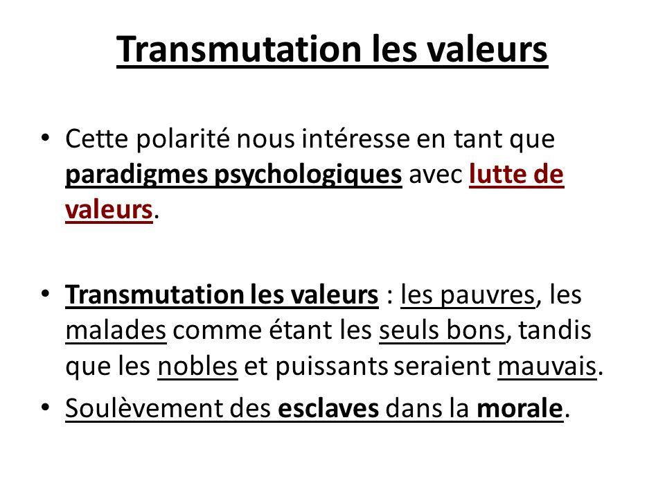Transmutation les valeurs Cette polarité nous intéresse en tant que paradigmes psychologiques avec lutte de valeurs. Transmutation les valeurs : les p