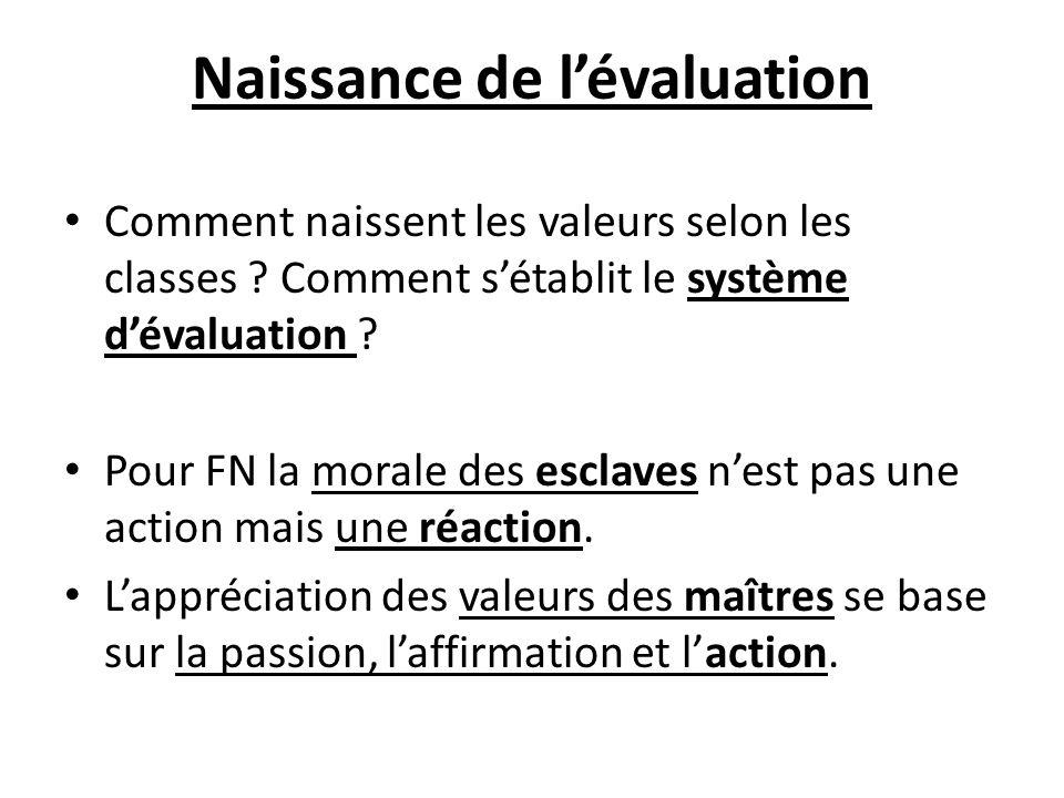 Naissance de lévaluation Comment naissent les valeurs selon les classes ? Comment sétablit le système dévaluation ? Pour FN la morale des esclaves nes