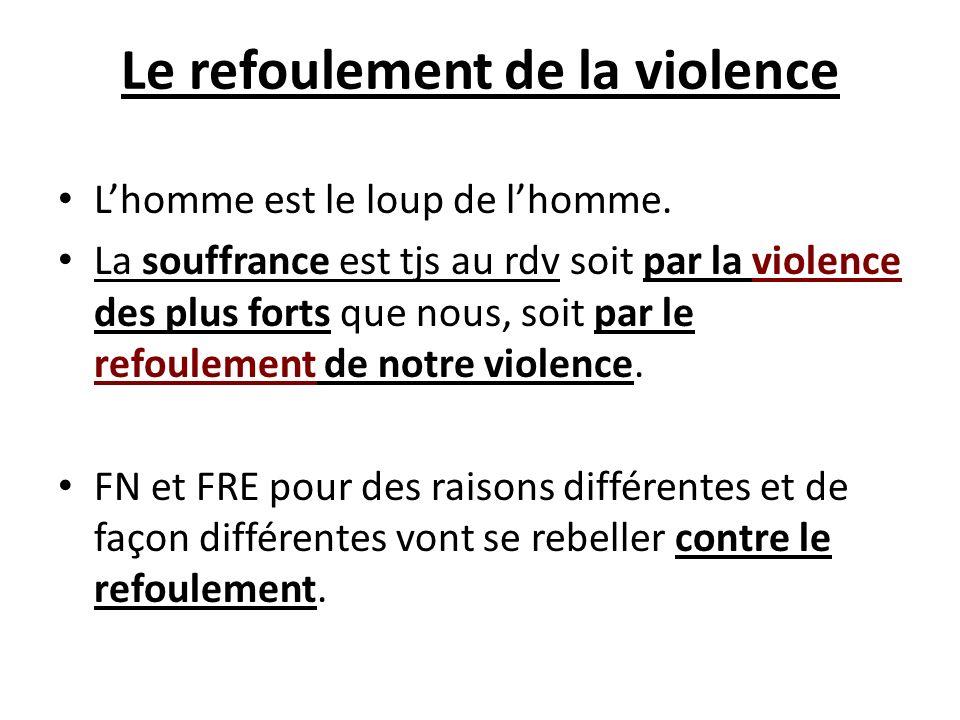 Le refoulement de la violence Lhomme est le loup de lhomme. La souffrance est tjs au rdv soit par la violence des plus forts que nous, soit par le ref