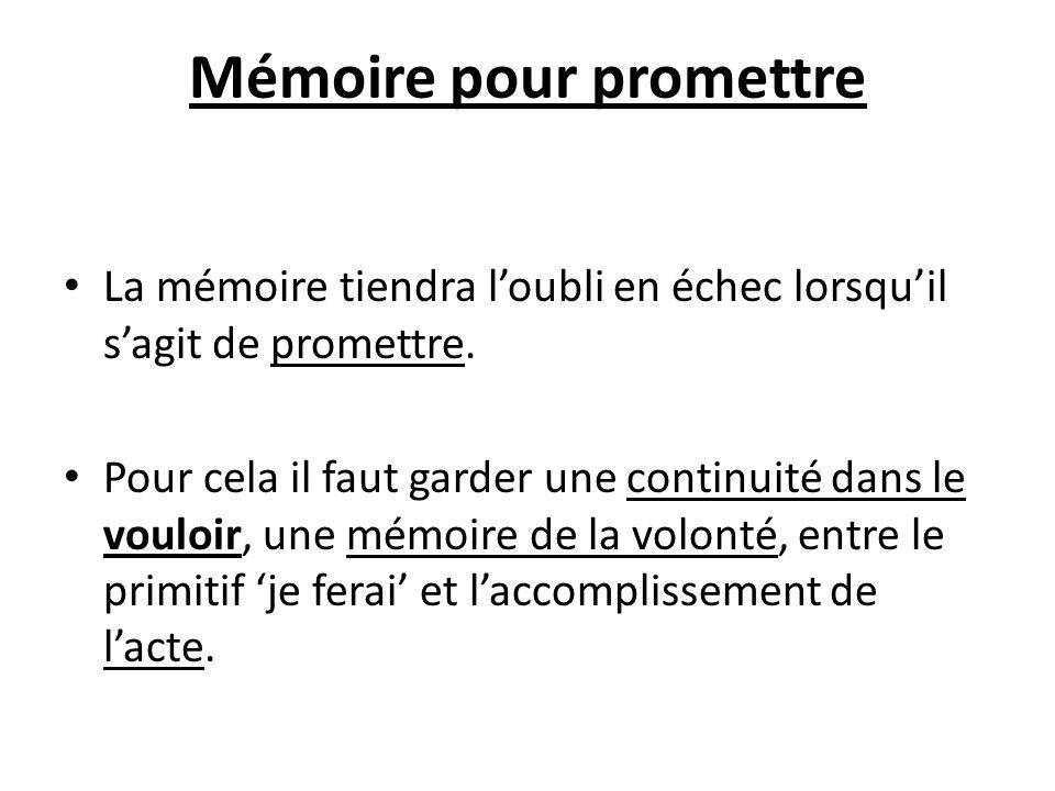 Mémoire pour promettre La mémoire tiendra loubli en échec lorsquil sagit de promettre. Pour cela il faut garder une continuité dans le vouloir, une mé