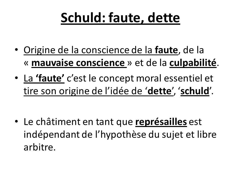 Schuld: faute, dette Origine de la conscience de la faute, de la « mauvaise conscience » et de la culpabilité. La faute cest le concept moral essentie