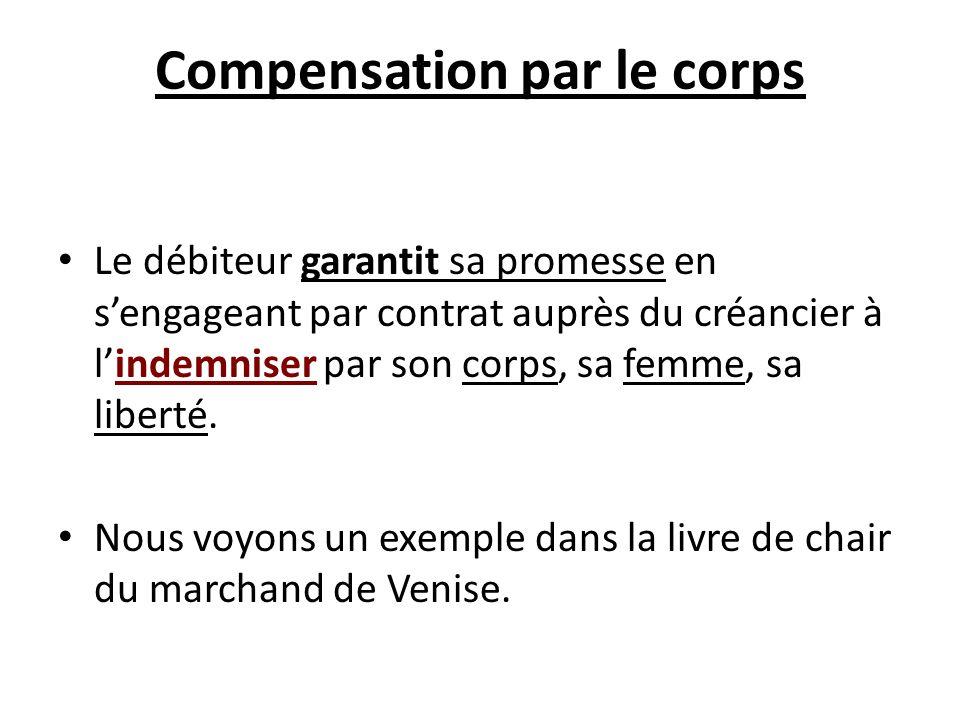 Compensation par le corps Le débiteur garantit sa promesse en sengageant par contrat auprès du créancier à lindemniser par son corps, sa femme, sa lib