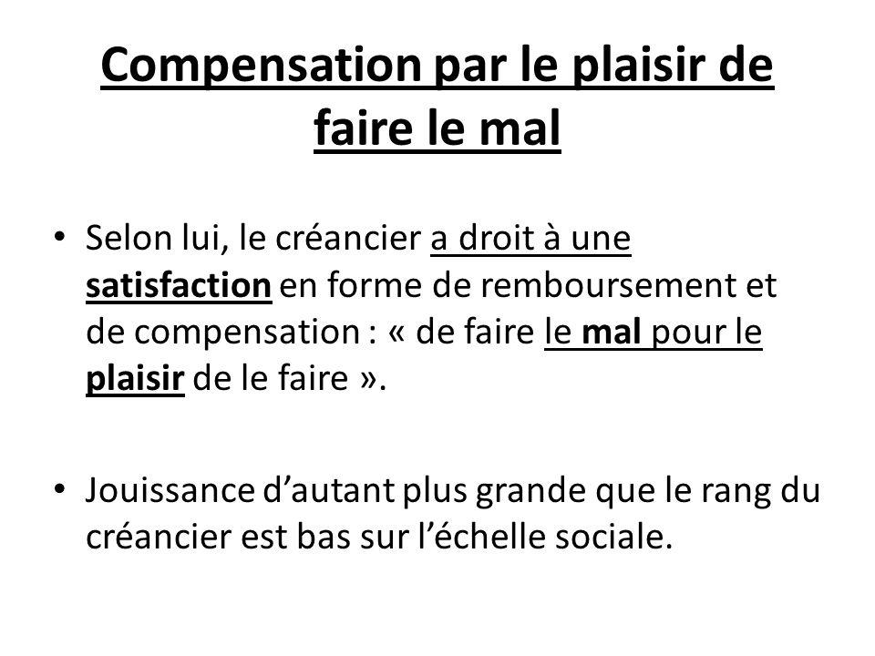 Compensation par le plaisir de faire le mal Selon lui, le créancier a droit à une satisfaction en forme de remboursement et de compensation : « de fai