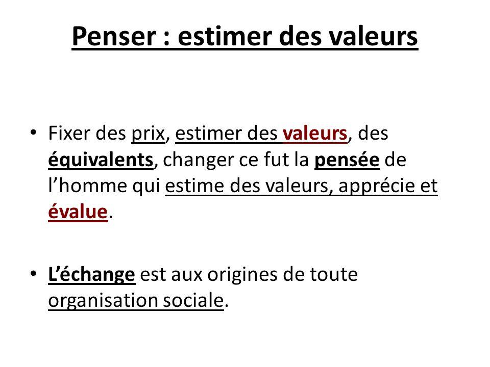 Penser : estimer des valeurs Fixer des prix, estimer des valeurs, des équivalents, changer ce fut la pensée de lhomme qui estime des valeurs, apprécie
