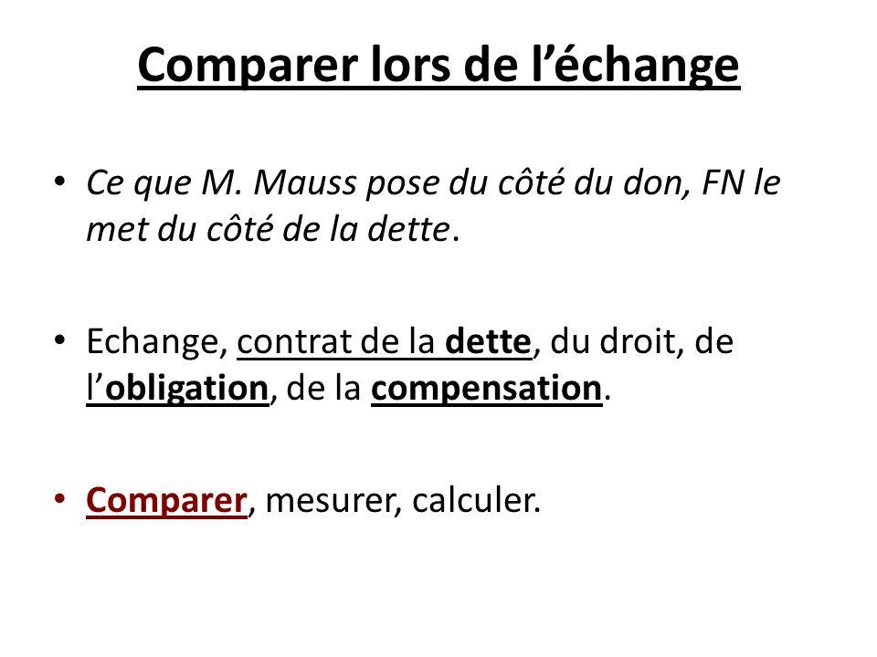 Comparer lors de léchange Ce que M. Mauss pose du côté du don, FN le met du côté de la dette. Echange, contrat de la dette, du droit, de lobligation,