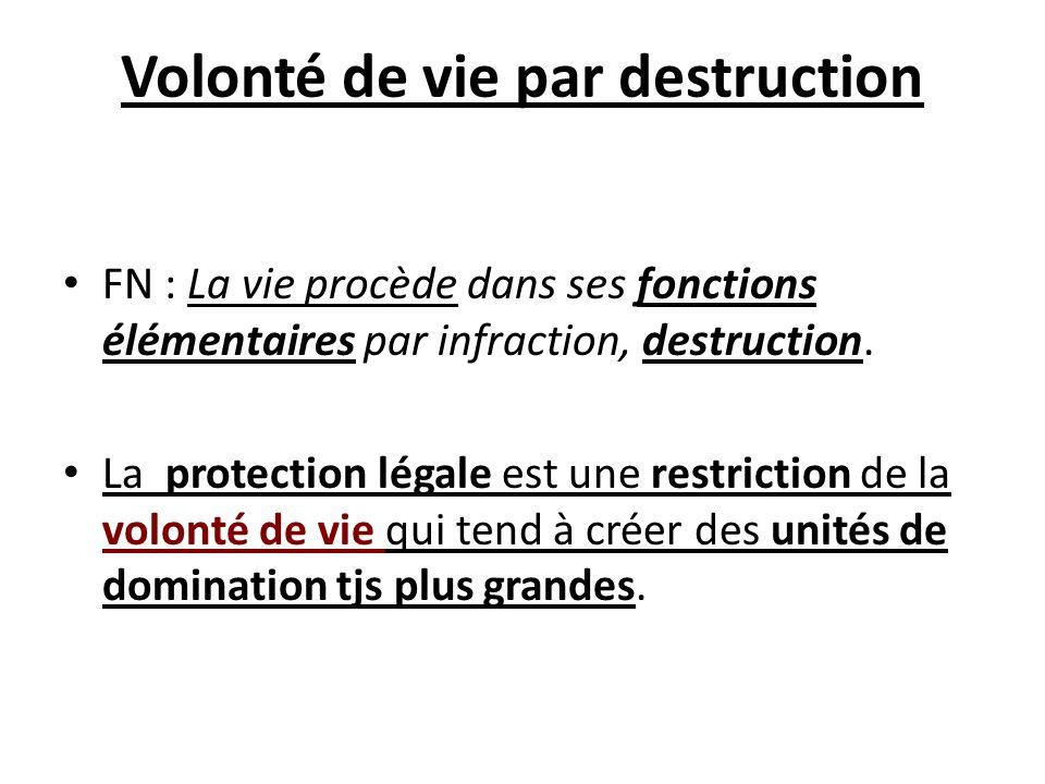 Volonté de vie par destruction FN : La vie procède dans ses fonctions élémentaires par infraction, destruction. La protection légale est une restricti