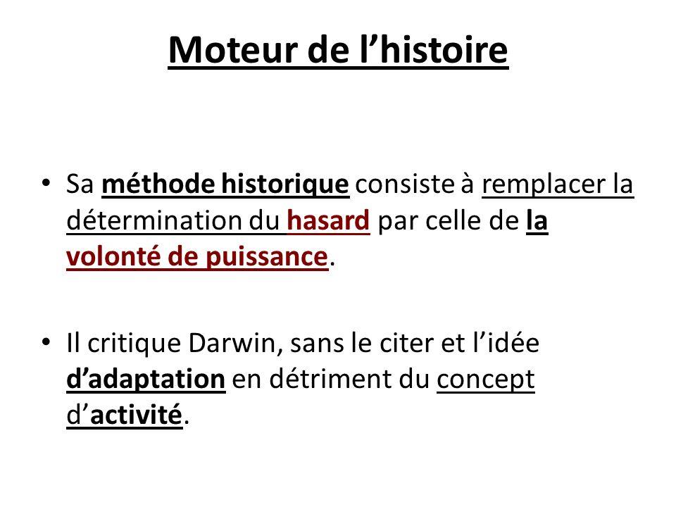 Moteur de lhistoire Sa méthode historique consiste à remplacer la détermination du hasard par celle de la volonté de puissance. Il critique Darwin, sa