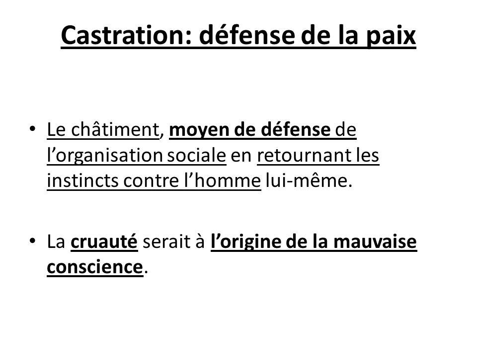 Castration: défense de la paix Le châtiment, moyen de défense de lorganisation sociale en retournant les instincts contre lhomme lui-même. La cruauté