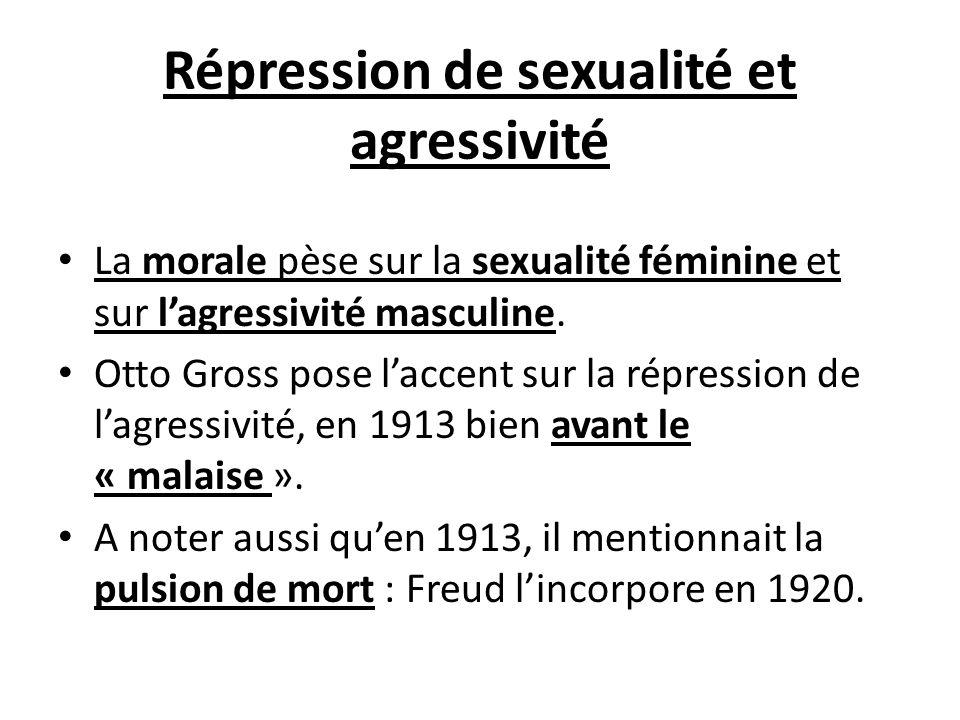 Répression de sexualité et agressivité La morale pèse sur la sexualité féminine et sur lagressivité masculine. Otto Gross pose laccent sur la répressi
