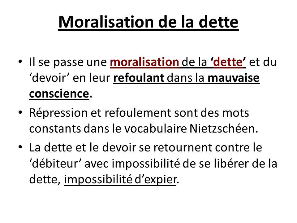 Moralisation de la dette Il se passe une moralisation de la dette et du devoir en leur refoulant dans la mauvaise conscience. Répression et refoulemen