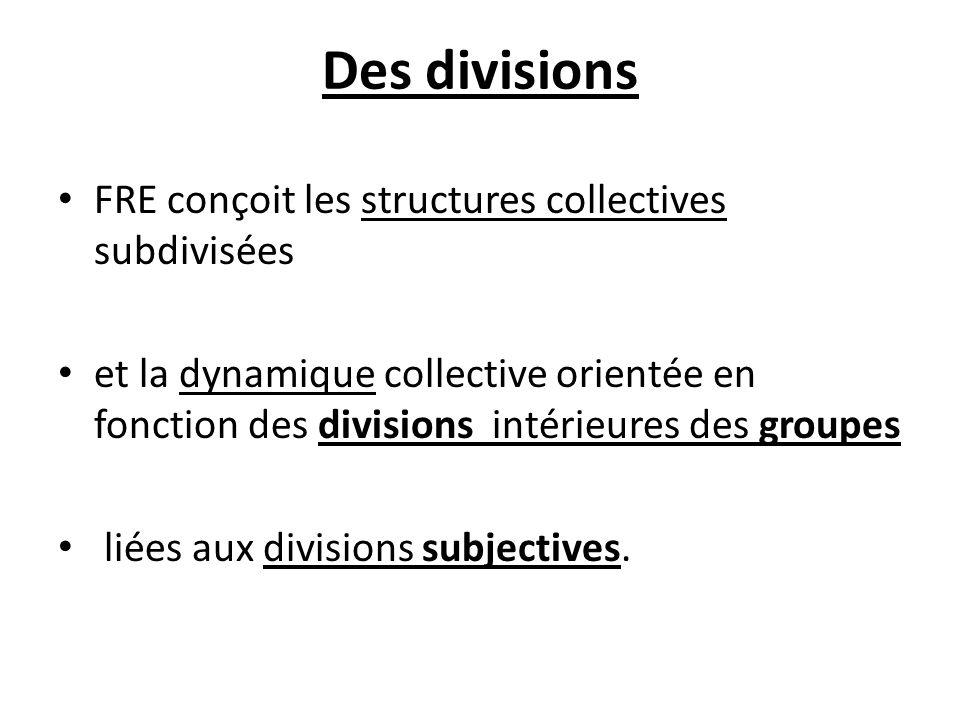 Des divisions FRE conçoit les structures collectives subdivisées et la dynamique collective orientée en fonction des divisions intérieures des groupes
