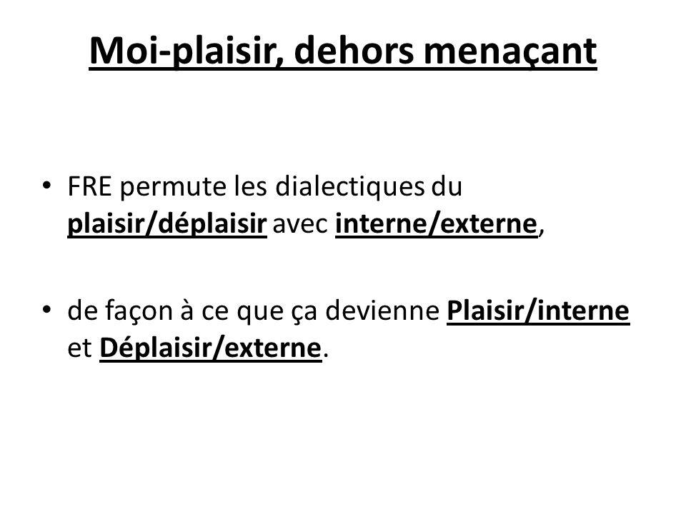 Moi-plaisir, dehors menaçant FRE permute les dialectiques du plaisir/déplaisir avec interne/externe, de façon à ce que ça devienne Plaisir/interne et
