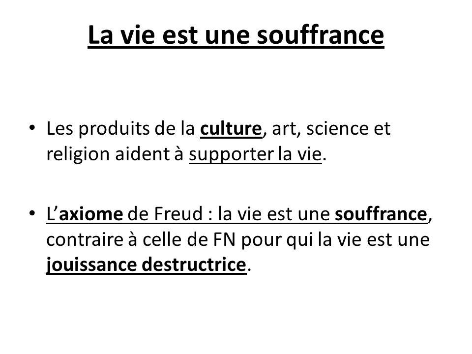La vie est une souffrance Les produits de la culture, art, science et religion aident à supporter la vie. Laxiome de Freud : la vie est une souffrance