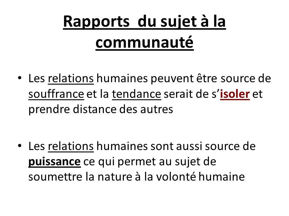 Rapports du sujet à la communauté Les relations humaines peuvent être source de souffrance et la tendance serait de sisoler et prendre distance des au