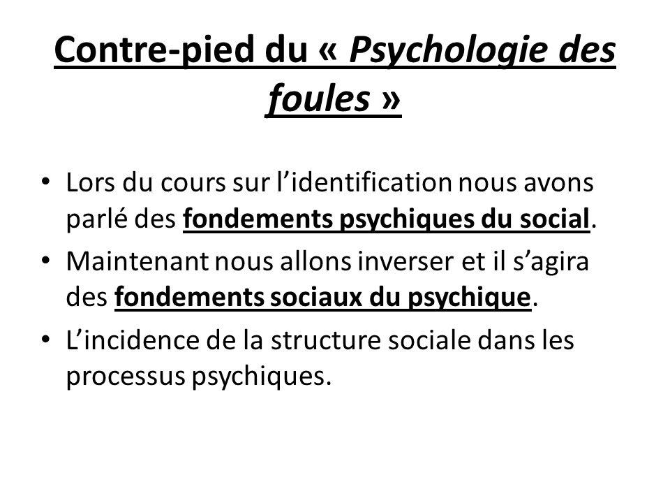 Contre-pied du « Psychologie des foules » Lors du cours sur lidentification nous avons parlé des fondements psychiques du social. Maintenant nous allo