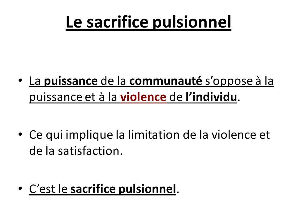 Le sacrifice pulsionnel La puissance de la communauté soppose à la puissance et à la violence de lindividu. Ce qui implique la limitation de la violen