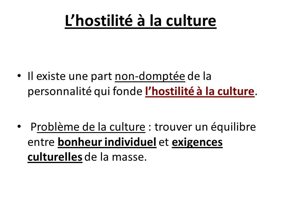 Lhostilité à la culture Il existe une part non-domptée de la personnalité qui fonde lhostilité à la culture. Problème de la culture : trouver un équil