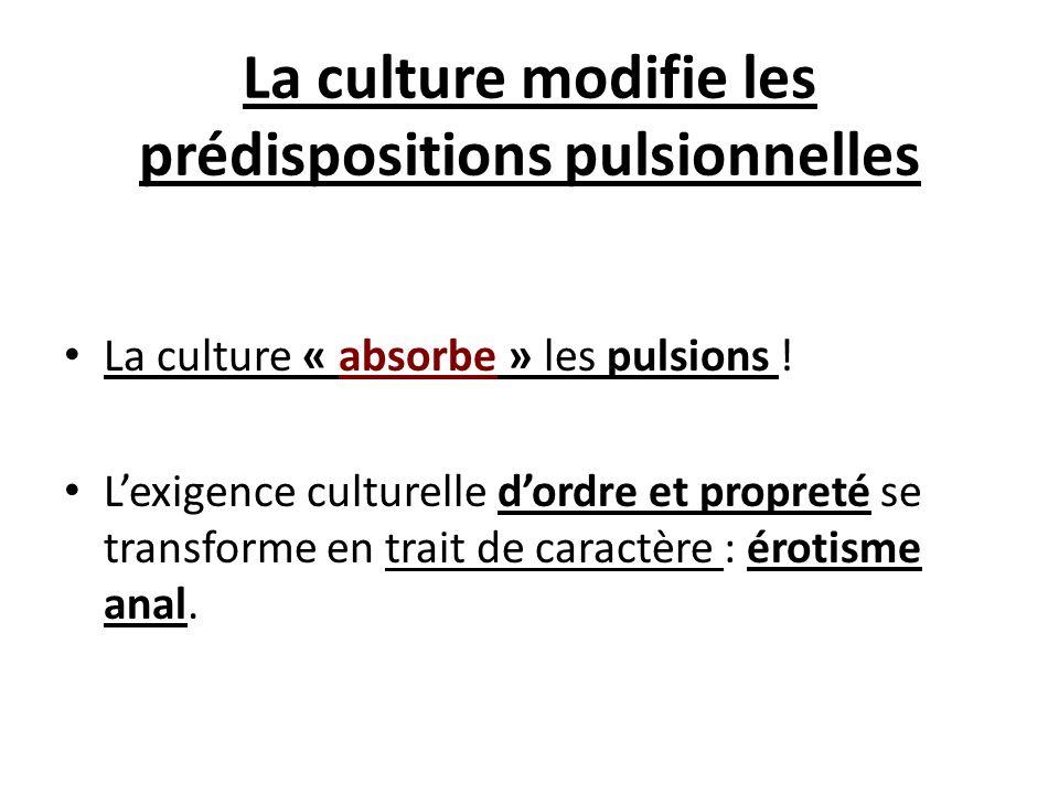 La culture modifie les prédispositions pulsionnelles La culture « absorbe » les pulsions ! Lexigence culturelle dordre et propreté se transforme en tr