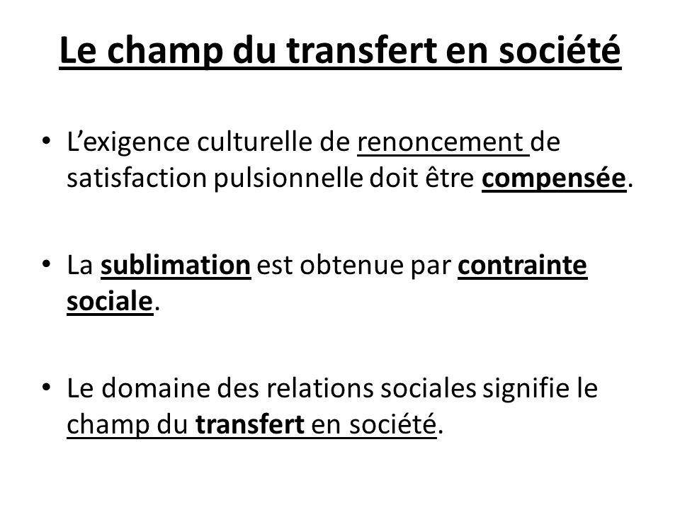 Le champ du transfert en société Lexigence culturelle de renoncement de satisfaction pulsionnelle doit être compensée. La sublimation est obtenue par