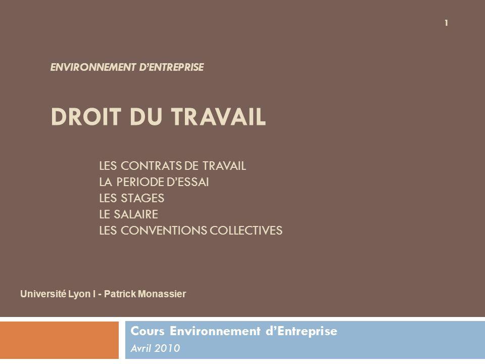 Les différents contrats de travail Obligations légales Le contrat écrit Détail des principaux types de contrat Les Contrats de travail 2 Université Lyon I - Patrick Monassier - 2010