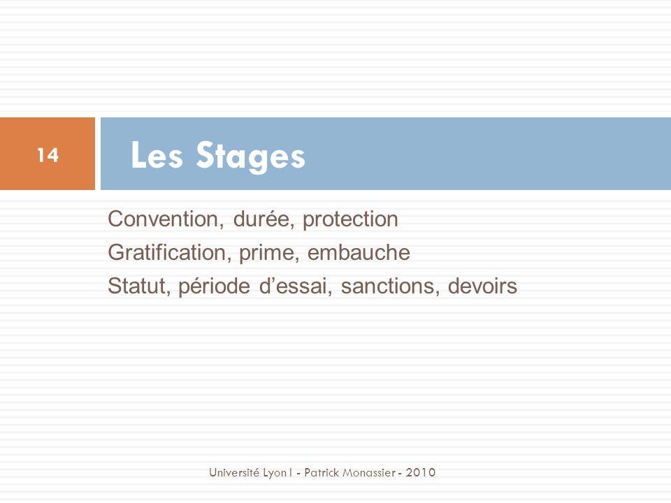 Convention, durée, protection Gratification, prime, embauche Statut, période dessai, sanctions, devoirs Les Stages 14 Université Lyon I - Patrick Mona