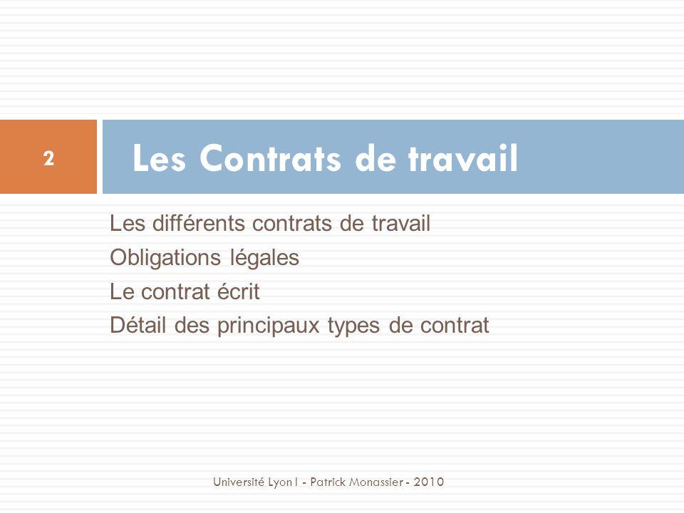Les différents contrats de travail Obligations légales Le contrat écrit Détail des principaux types de contrat Les Contrats de travail 2 Université Ly