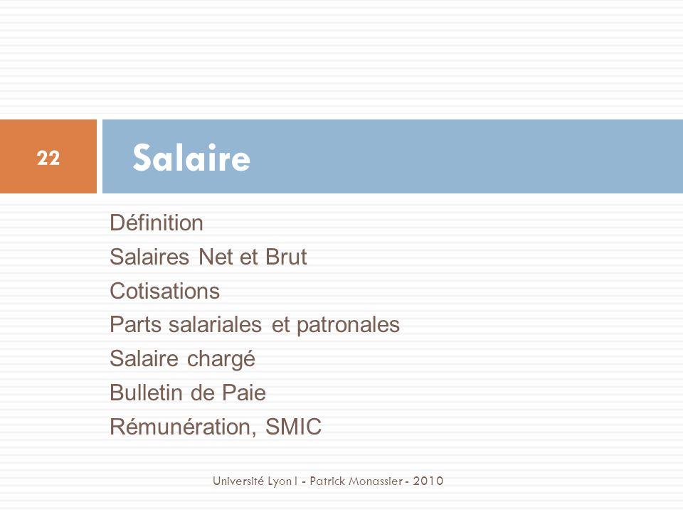 Définition Salaires Net et Brut Cotisations Parts salariales et patronales Salaire chargé Bulletin de Paie Rémunération, SMIC Salaire 22 Université Ly