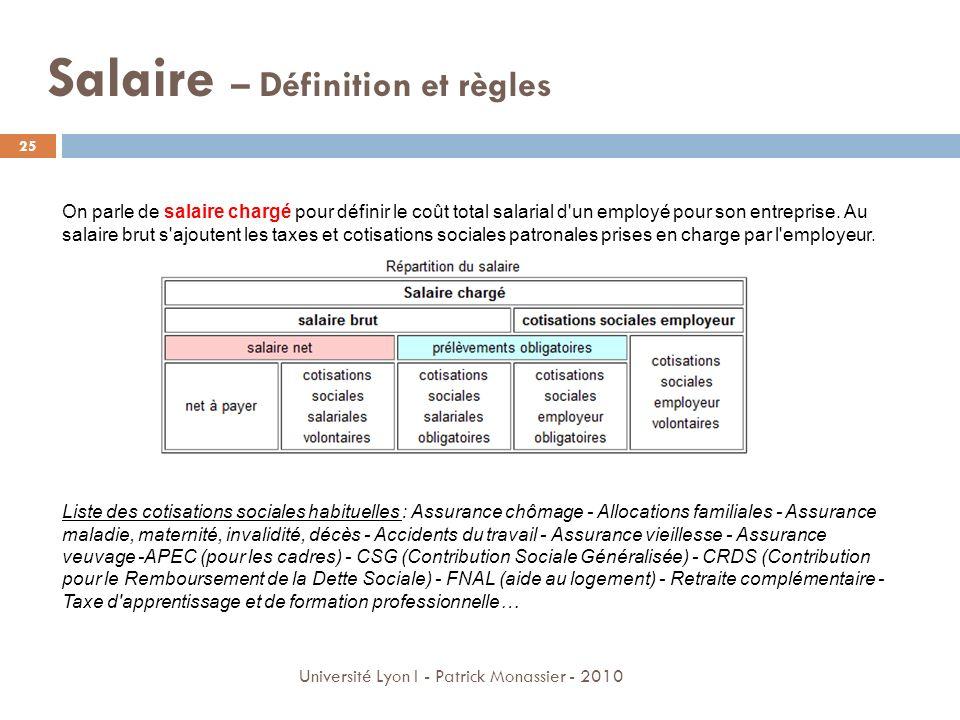 Salaire – Définition et règles 25 Université Lyon I - Patrick Monassier - 2010 On parle de salaire chargé pour définir le coût total salarial d'un emp