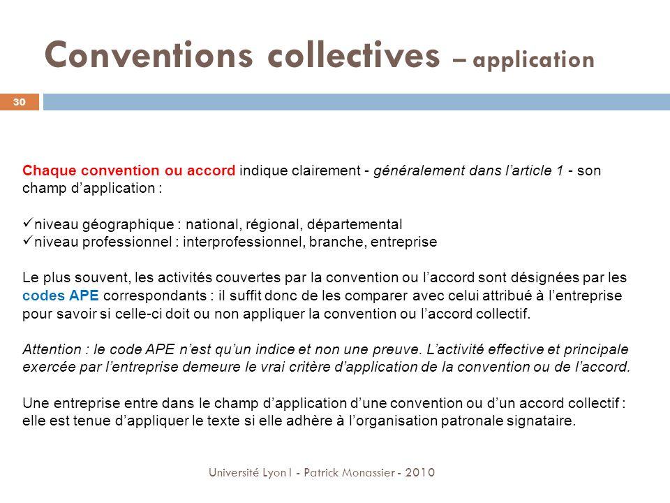 Conventions collectives – application Chaque convention ou accord indique clairement - généralement dans larticle 1 - son champ dapplication : niveau
