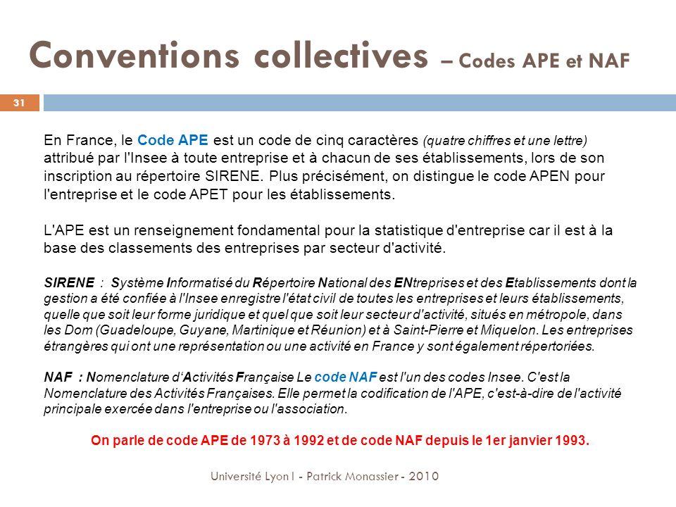 Conventions collectives – Codes APE et NAF En France, le Code APE est un code de cinq caractères (quatre chiffres et une lettre) attribué par l'Insee