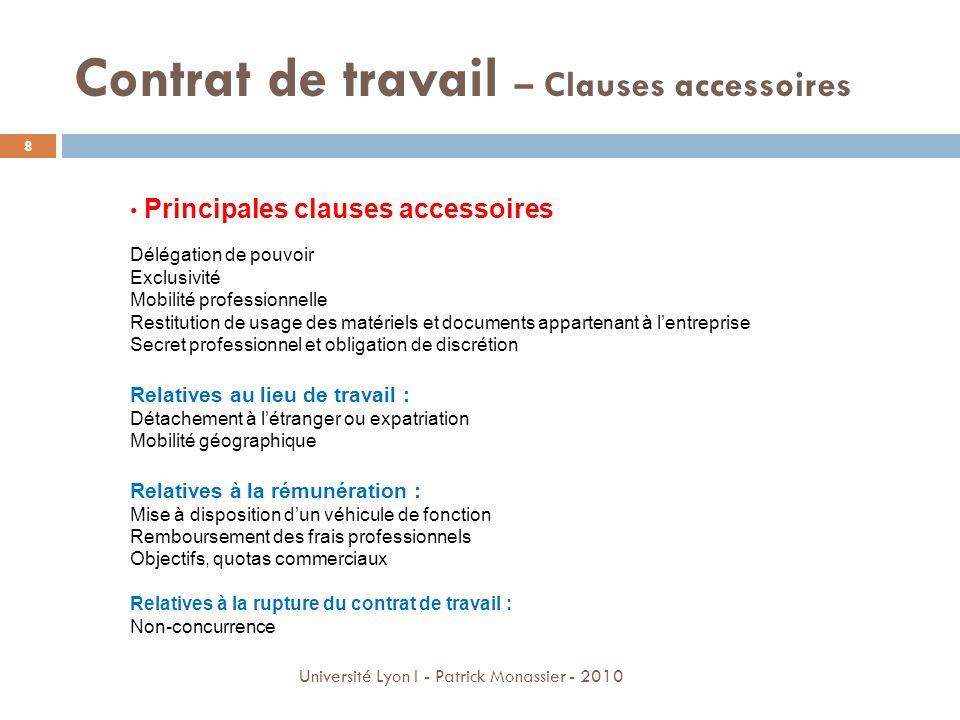 Contrat de travail – Clauses accessoires Principales clauses accessoires Délégation de pouvoir Exclusivité Mobilité professionnelle Restitution de usa