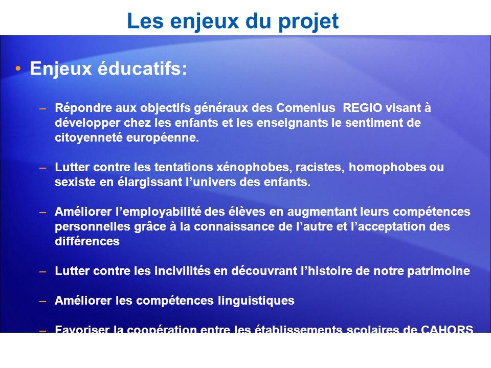 Les enjeux du projet Enjeux éducatifs: –Répondre aux objectifs généraux des Comenius REGIO visant à développer chez les enfants et les enseignants le