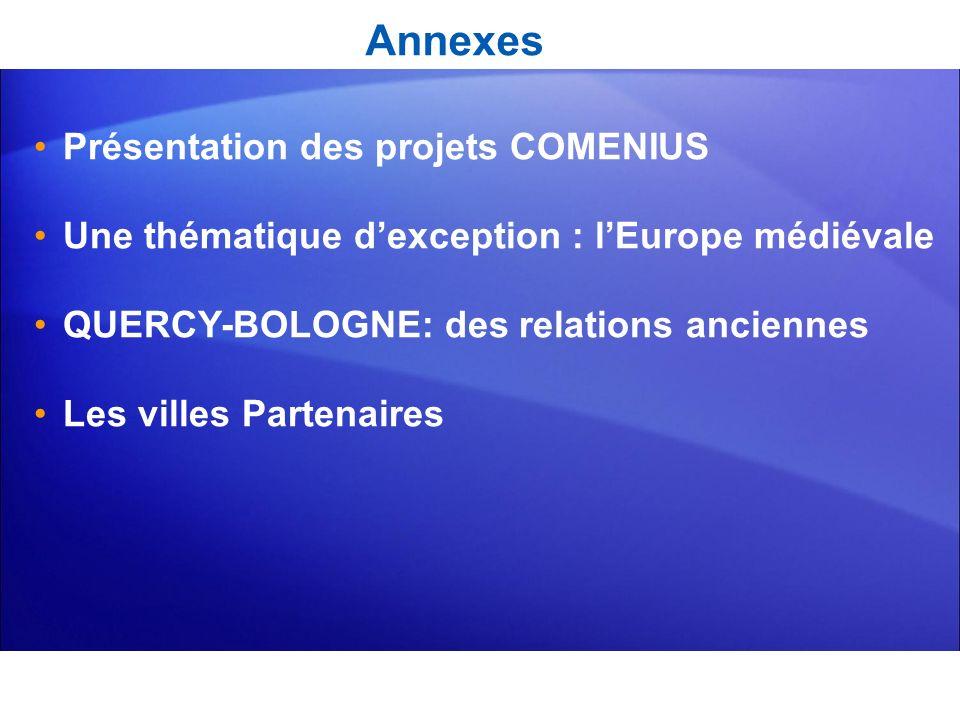 Annexes Présentation des projets COMENIUS Une thématique dexception : lEurope médiévale QUERCY-BOLOGNE: des relations anciennes Les villes Partenaires