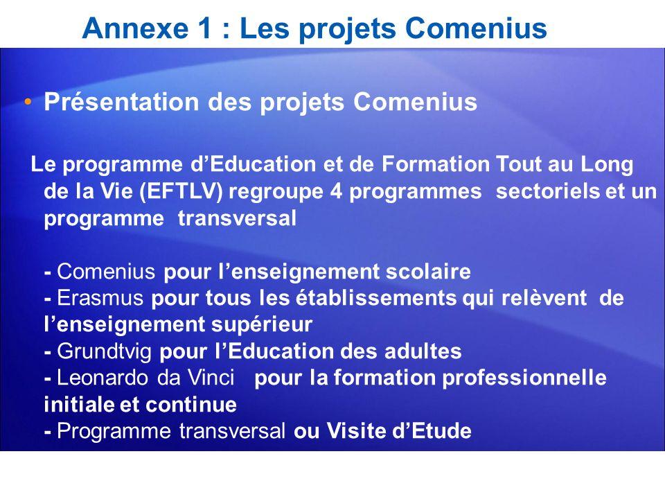 Annexe 1 : Les projets Comenius Présentation des projets Comenius Le programme dEducation et de Formation Tout au Long de la Vie (EFTLV) regroupe 4 pr