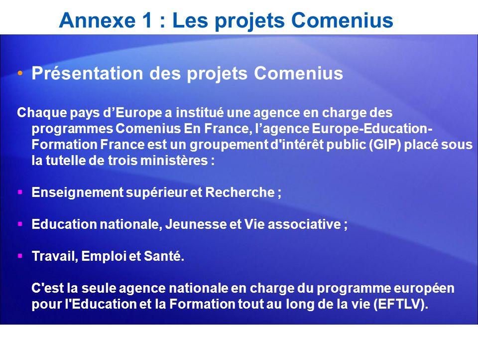 Annexe 1 : Les projets Comenius Présentation des projets Comenius Chaque pays dEurope a institué une agence en charge des programmes Comenius En Franc