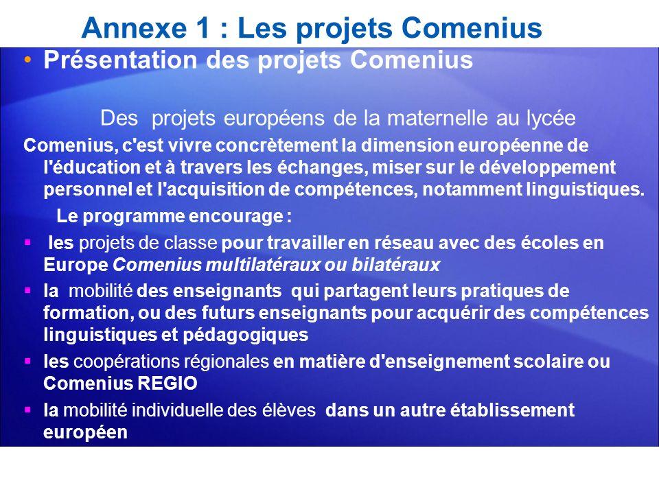 Annexe 1 : Les projets Comenius Présentation des projets Comenius Des projets européens de la maternelle au lycée Comenius, c'est vivre concrètement l