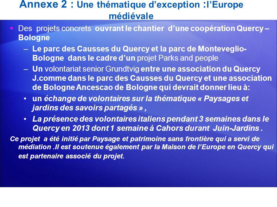 Annexe 2 : Une thématique dexception : lEurope médiévale Des projets concrets ouvrant le chantier dune coopération Quercy – Bologne –Le parc des Causs