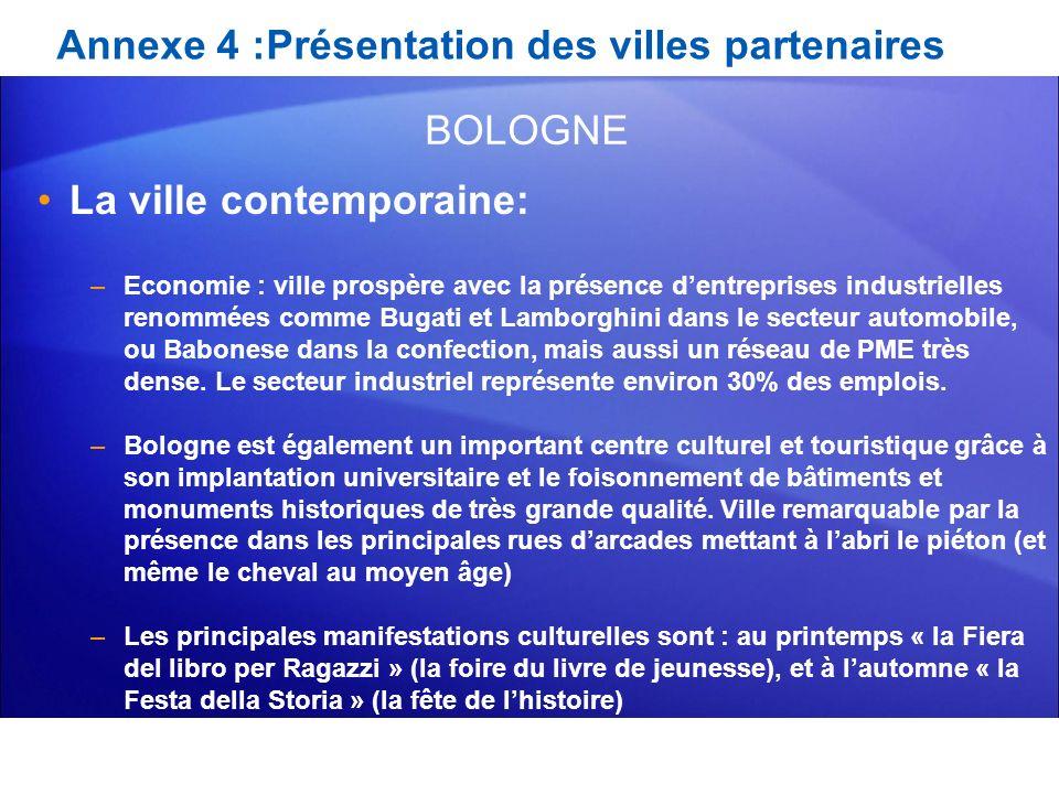 Annexe 4 :Présentation des villes partenaires La ville contemporaine: –Economie : ville prospère avec la présence dentreprises industrielles renommées