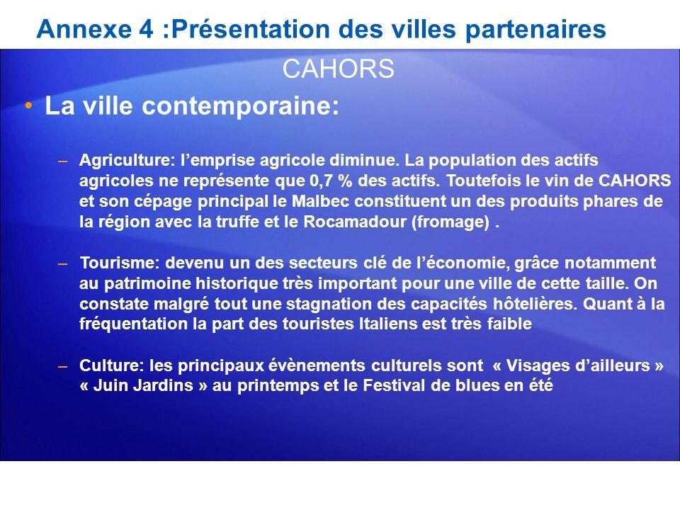 Annexe 4 :Présentation des villes partenaires La ville contemporaine: –Agriculture: lemprise agricole diminue. La population des actifs agricoles ne r