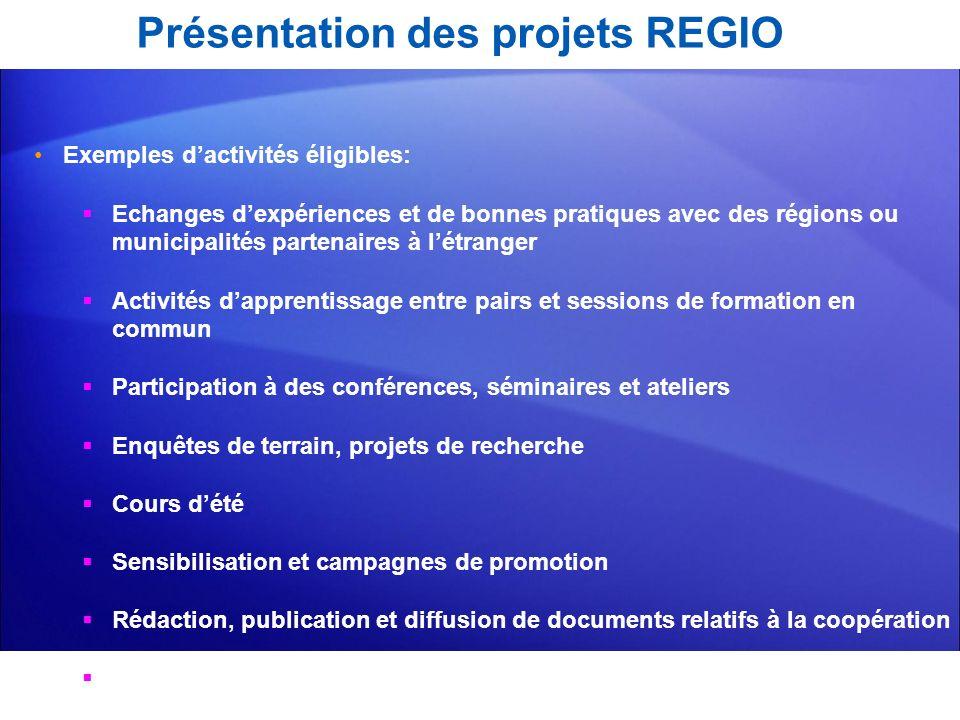 Présentation des projets REGIO Exemples dactivités éligibles: Echanges dexpériences et de bonnes pratiques avec des régions ou municipalités partenair