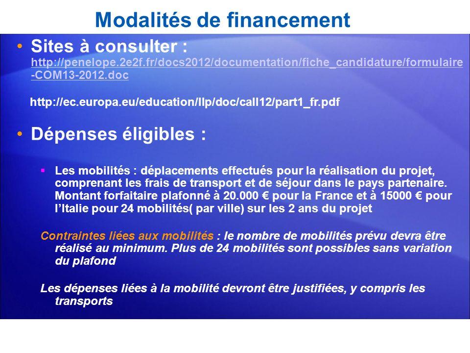 Modalités de financement Sites à consulter : http://penelope.2e2f.fr/docs2012/documentation/fiche_candidature/formulaire -COM13-2012.doc http://penelo