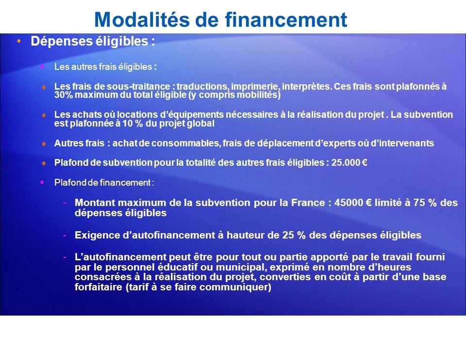 Modalités de financement Dépenses éligibles : Les autres frais éligibles : Les frais de sous-traitance : traductions, imprimerie, interprètes. Ces fra