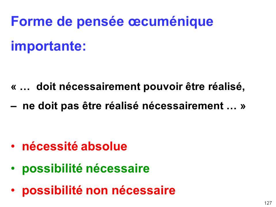 Forme de pensée œcuménique importante: « … doit nécessairement pouvoir être réalisé, – ne doit pas être réalisé nécessairement … » nécessité absolue p