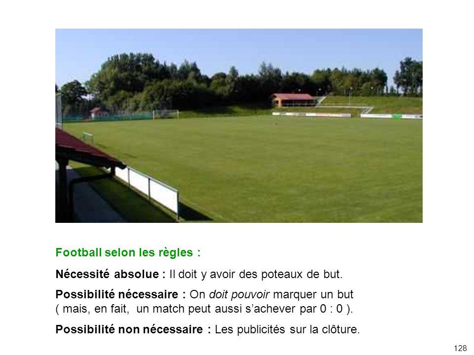 Football selon les règles : Nécessité absolue : Il doit y avoir des poteaux de but. Possibilité nécessaire : On doit pouvoir marquer un but ( mais, en
