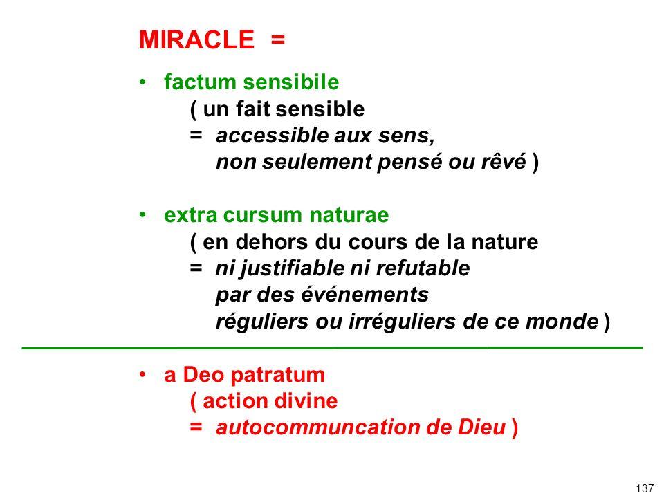 MIRACLE = factum sensibile ( un fait sensible = accessible aux sens, non seulement pensé ou rêvé ) extra cursum naturae ( en dehors du cours de la nat