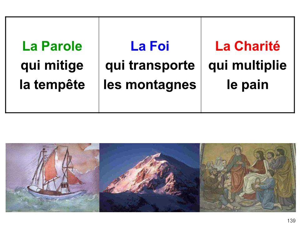 La Parole qui mitige la tempête La Foi qui transporte les montagnes La Charité qui multiplie le pain 139