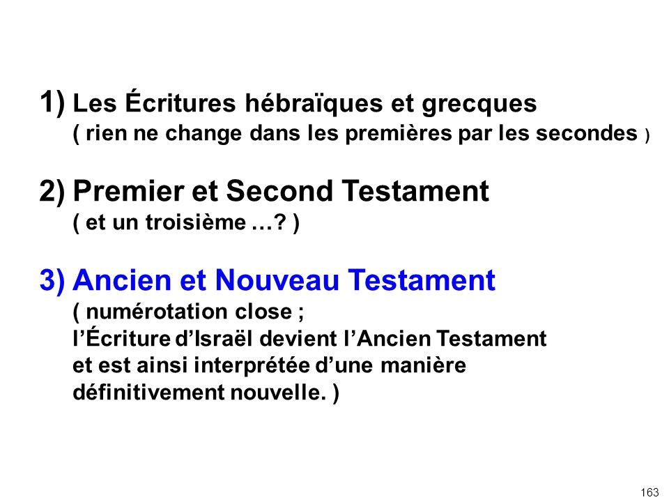 1) Les Écritures hébraïques et grecques ( rien ne change dans les premières par les secondes ) 2)Premier et Second Testament ( et un troisième …? ) 3)