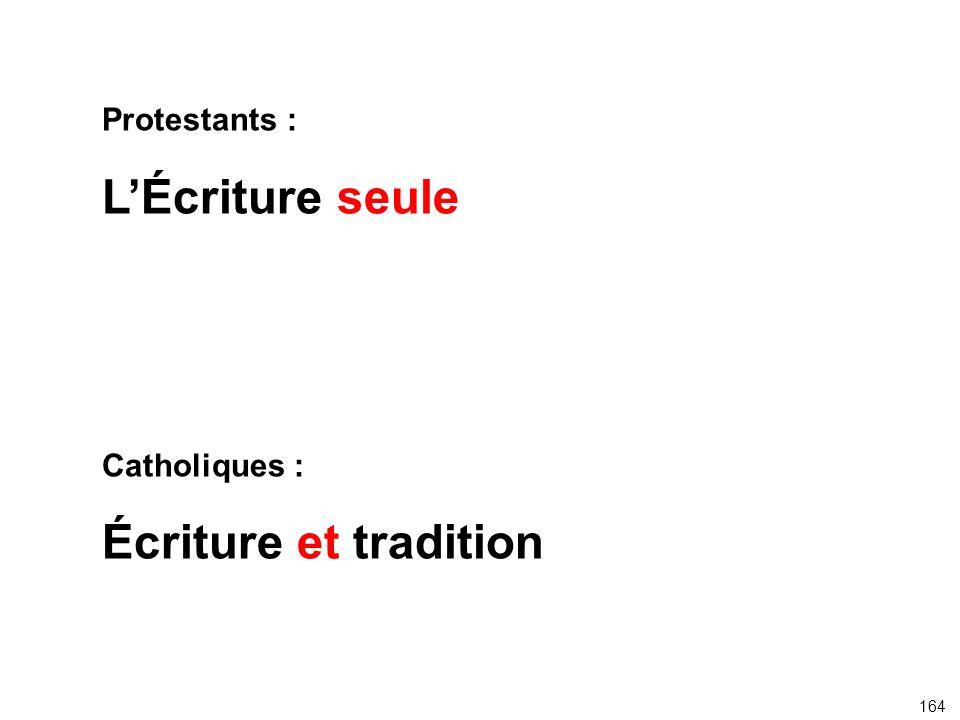 Protestants : LÉcriture seule Catholiques : Écriture et tradition 164