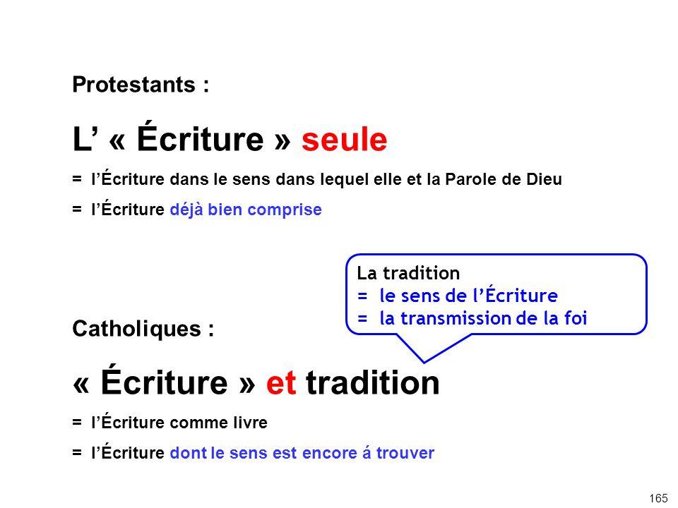 Protestants : L « Écriture » seule =lÉcriture dans le sens dans lequel elle et la Parole de Dieu = lÉcriture déjà bien comprise Catholiques : « Écritu
